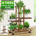 4 Tiers Bamboo Flower Pot Plant Stand Ladder Shelf Display Rack Indoor Outdoor