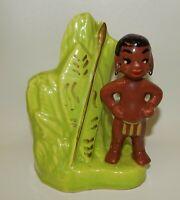 Vintage Hollywood Ceramics California Native African Boy Planter
