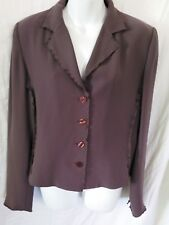 BLUE ICE PURPLE SIZE 10 WOMEN'S LIGHT SUIT TOP JACKET WITH RUFFLED SEAMS