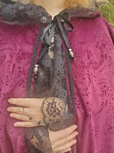 OOAK velour cloak with black lace Wiccan Pagan Cosplay RenFaire FREE SHIPPING