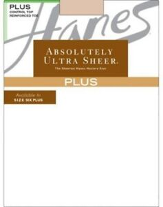 1- Hanes Plus Absolutely Ultra Sheer Control Top Reinforced Toe Pantyhose