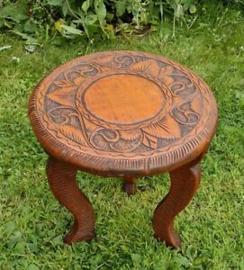 A Lovely Antique Hand-Carved  Three Legged Stool