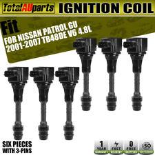 6x Ignition Coils Pack for Nissan Patrol Y61 2001-2007 I6 4.8L TB48DE 22448AR215