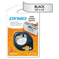"""DYMO Letratag Metallic Label Tape Cassette, 1/2in X13ft, Silver"""