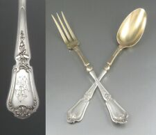 Antique French Sterling Silver Vermeil Serving Salad Set, Paul Canaux 1892-1911