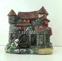 "Vintage Halloween Ceramic Haunted House Manison Ghost Light CREEPY Village 7"""