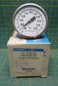 "Ashcroft 5"" Bimetal Thermometer 50/550°F 4"" Stem 50-EI60-R-040-50/550F 1/2"" NPT"