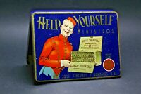 VINTAGE CIGAR BOX TIN TOBACCO CONTAINER GREAT GRAPHICS BELL BOY HOTEL
