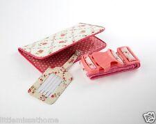 Porta Pasaporte, Viaje Correa Y Etiqueta del equipaje conjunto cartera de documentos Floral Rosa Lunares