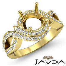 Diamond Engagement Pave Ring 1Ct 14k Yellow Gold Round Semi Mount Curve Shank