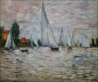 Hand Painted Oil Painting Repro Claude Monet Regatta at Argenteuil 20x24in
