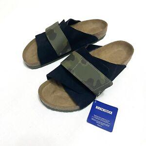 Birkenstock Sz 10 / 43 Mens Kyoto Midnight Camo Black Strap Suede Slides Sandals