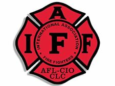 4x4 inch RED Maltese Shaped IAFF AFL CIO Sticker -fireman fire firefighter logo