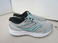 WOMENS SAUCONY GRID COHESION 13 GRAY WHITE BLUE RUNNING SHOES SIZE 6.5M A220