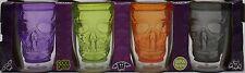 Halloween Set of 4 Cool Gear Orange Purple Green Black Skull Shot Glass Pack NIP