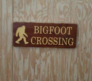 Bigfoot Crossing/Sasquatch Distressed Wood Sign/Rustic/Cabin/Lodge/Camping/Home