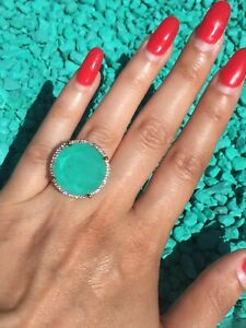 HUGE SOLITAIRE NATURAL GLOWING NEON GREEN COLOMBIAN EMERALD RING 18K GOLD OVER