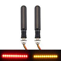 2pcs Motorrad LED Fließen Blinker Indikator Gelb & Blitzlicht Bremslicht Rot 12V