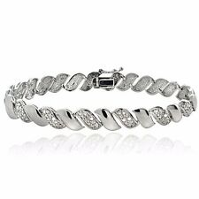 1ct TDW Lab Diamond San Marco Bracelet - Natural White Gold Plated Brass 9mm