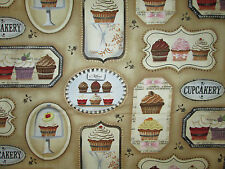 CUP CAKES CUPCAKES BAKERY TAN DESSERT COTTON FABRIC FQ