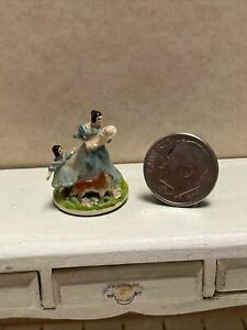 Vintage Artisan Painted Metal Victorian Mother Child Figure Dollhouse Miniature