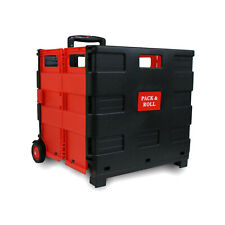 Einkaufstrolley Einkaufswagen Trolley Korb mit Rollen klappbar 35kg rot/schwarz