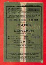SOUTHERN RAILWAY / BILLET TRAIN PARIS TO LONDON 1952
