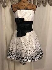 JESSICA McCLINTOCK GUNNE SAX Black white polka dot  Strapless Dress - 3- NW0T