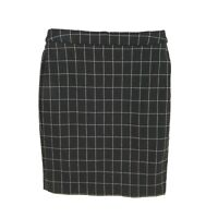 Elle Pencil Skirt Womens Sz L Black Tan Checks Elastic Waist Knee Length CAREER