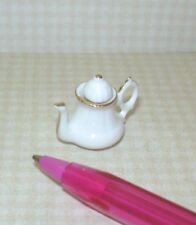Miniature White Porcelain Coffee/Tea Pot, GOLD TRIM: DOLLHOUSE Miniatures 1/12