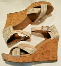 0421d033506 TOMS Women s Canvas and Cork Wedge Sandals Size 7 Multicolored