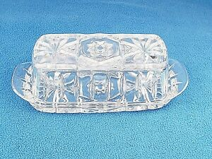 Vintage crystal clear glass butter dish with lid star and pinwheel design