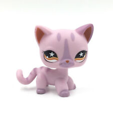 Littlest Pet Shop Toys LPS cat #933 purple kitty with orange Eyes short hair cat