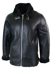 Mens Vintage Winter Faux Sheepskin Leather Aviator Pilot Jacket Black Beige Zip