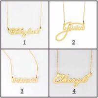 Personalized Silver and Gold Script Any Name Plate Necklace w/ Free Chain