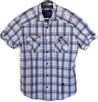 Next Mens Red/ Grey UK XL Slimmer Fit Check Collared Short Sleeve Quality Shirt