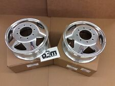 1999-2009 Ford Super Duty Two DUALLY FRONT WHEELS Polished Aluminum Pair new OEM