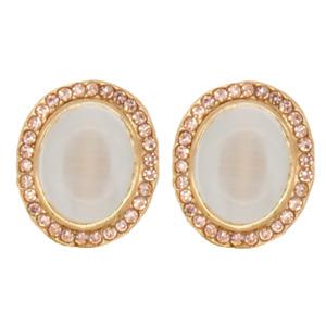 CLIP ON Earrings Oval Crystal Gold Rhinestone Fake Studs Stud Non Pierced #28