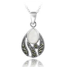 925 Silver Mother of Pearl & Marcasite Teardrop Pendant