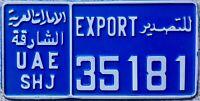 GENUINE United Arab Emirates Sharjah Export License Licence Number Plate 35181