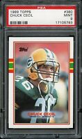 1989 Topps FB Card #380 Chuck Cecil Green Bay Packers ROOKIE CARD PSA MINT 9 !!!