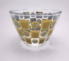 """MCM glass clear serving bowl gold and blue 4 3/8"""" high"""