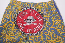 * VERSACE * Rare Blue-Gold Baroque 'Ride to Live, Live to Ride' Jeans 32 x 35
