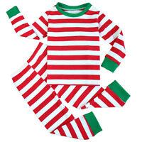 Boys Girls Christmas Striped Pajama Set T-Shirt and Pants Cotton Sleepwear