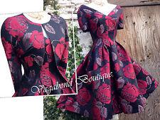 *RARE* Exquisite MONSOON 50s Jacquard DRESS+JACKET: metallic floral print sz 12