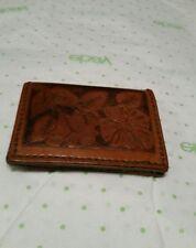 "vintage wallet tooled leather brown floral imprint billfold 4.5""x3.5"" hippy era"