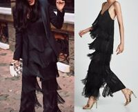ZARA WOMAN NEW AW17 FRINGED JUMPSUIT DRESS TIME BLACK REF.3440/260