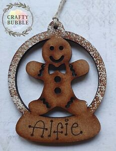 HANDMADE PERSONALISED GINGERBREAD CHRISTMAS TREE BAUBLE ORNAMENT.WOODEN