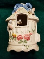 VTG Schmid 1983 Ceramic Music Box Moving Bird Cage Plays Blue Bird Of Happiness