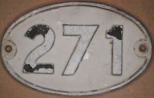 Old English cast metal oval house number 271 door gate plate fence plaque sign